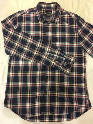 佐丹奴法蘭絨格紋襯衫(男版M,藍白配色)