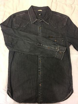 Lee藍黑色牛仔襯衫(男版m,好搭)