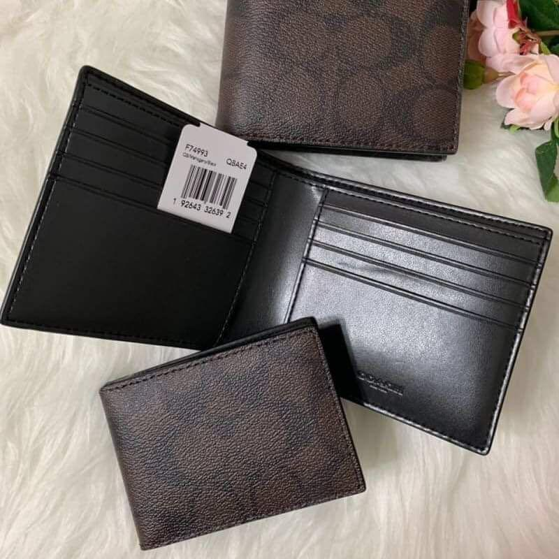 Authentic coach compact ID Wallet in signature crossgrain leather eta