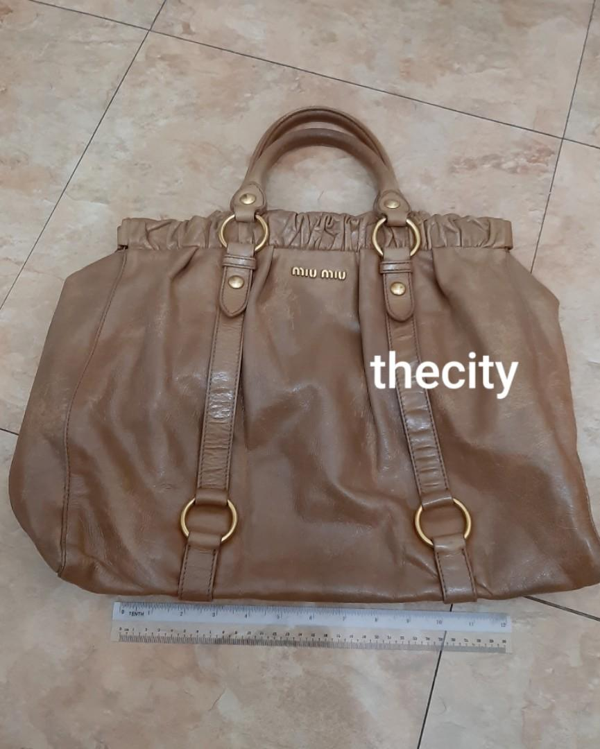 AUTHENTIC MIU MIU BIG CALFSKIN LEATHER TOTE BAG - CLEAN INTERIOR,  OVERALL GOOD - BROWN COLOR , GOLD HARDWARE - (RETAILS AROUND RM 6000+)