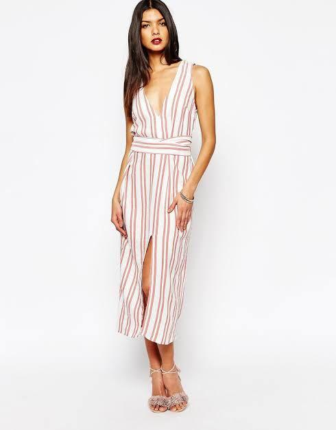 Bec and bridge red and white striped carousel midi dress