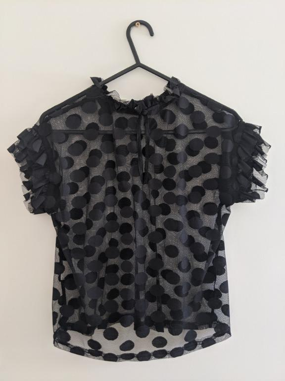 Black Dazie Sheer Polka Dot Top Size 6 - never worn, no tags
