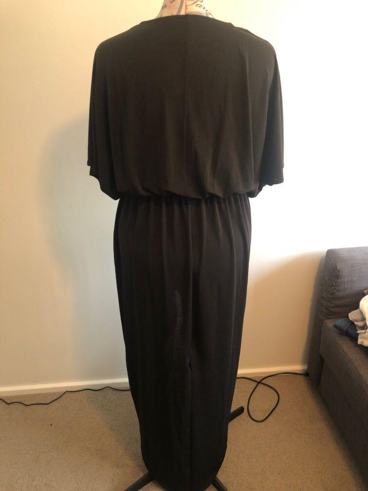 Black maxi dress with pant suit slit and covers arms