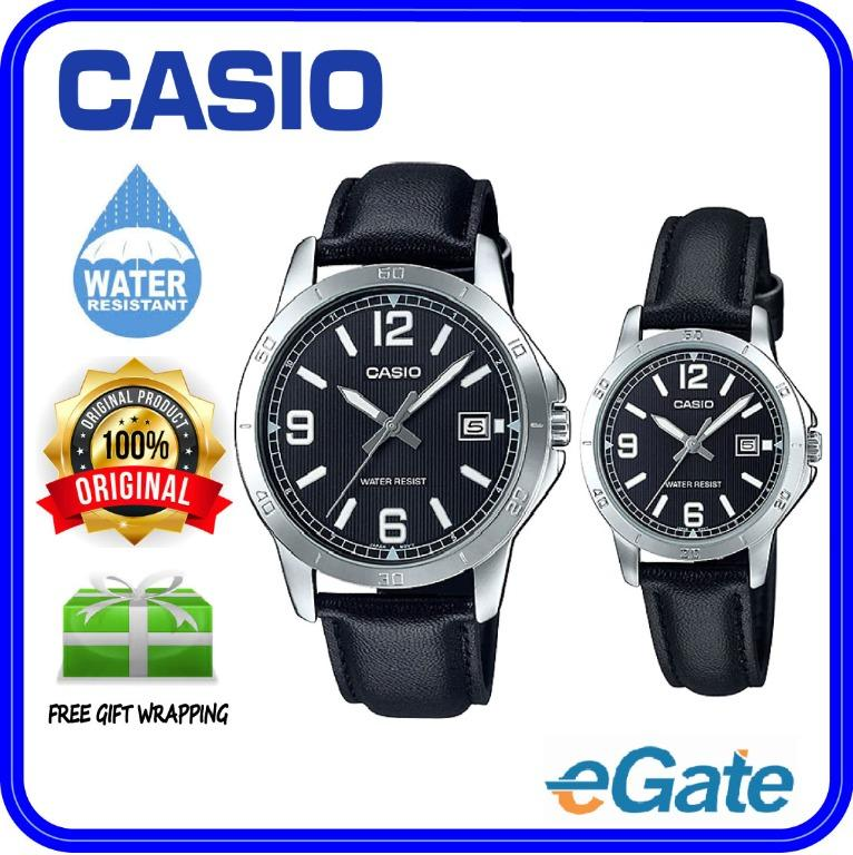 Casio MTP-V004L-1B & LTP-V004L-1B Couple Analog Date Functioning Black Dial Black Leather Band Original Casual Watch