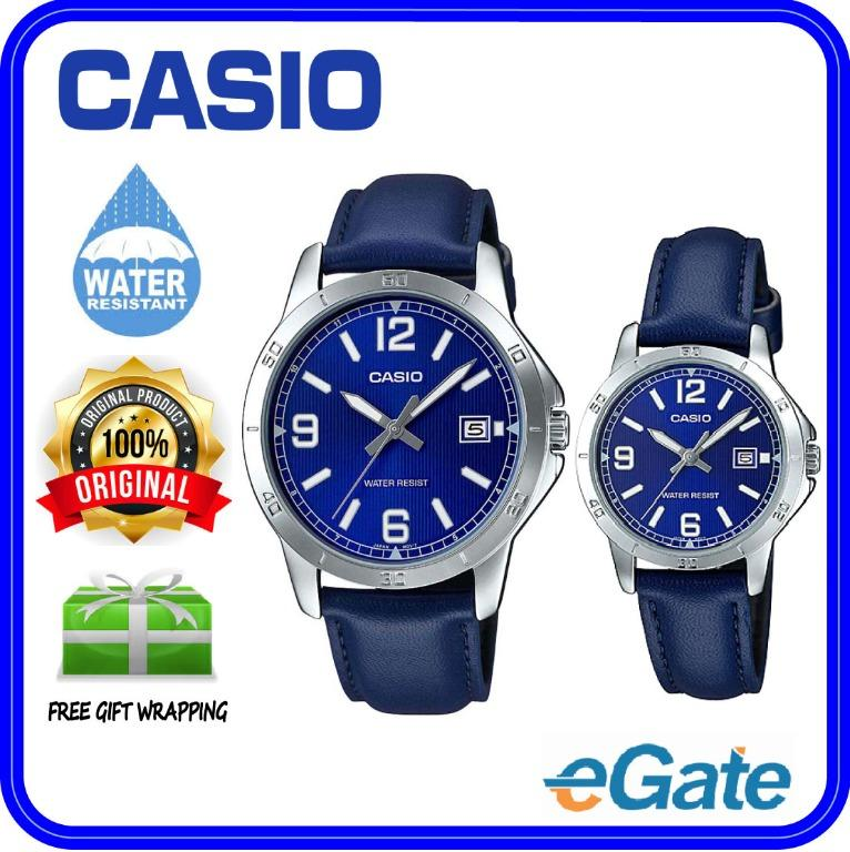 Casio MTP-V004L-2B & LTP-V004L-2B Couple Analog Date Functioning Blue Dial Silver Case Blue Leather Band Original Casual Watch