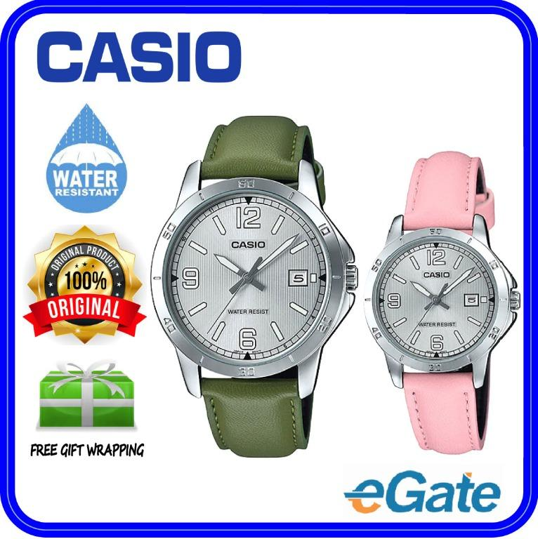 Casio MTP-V004L-3B & LTP-V004L-4B Couple Date Functioning Silver Case Leather Band Original Casual Watch