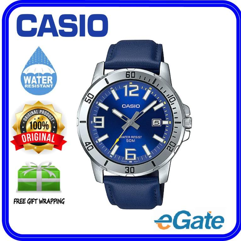 Casio MTP-VD01L-2BV Men Analog Date Functioning Blue Dial Silver Case Blue Leather Band Original Casual Watch MTP-VD01L