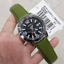 Casio MTP-VD01L-3BV Men Analog Date Functioning Silver Case Black Dial Green Leather Band Original Casual Watch MTP-VD01L