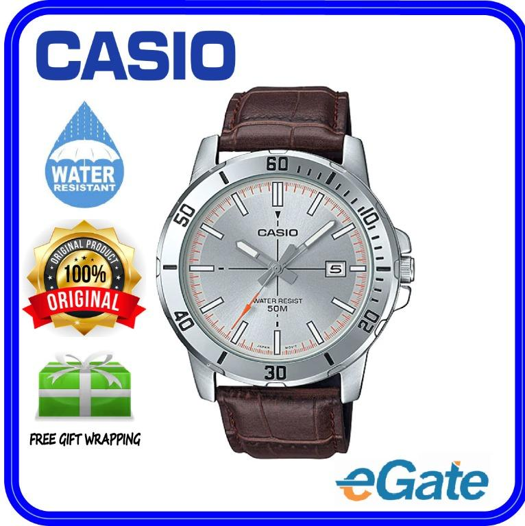 Casio MTP-VD01L-8EV Men Analog Date Functioning Silver Dial Brown Leather Band Original Casual Watch MTP-VD01L