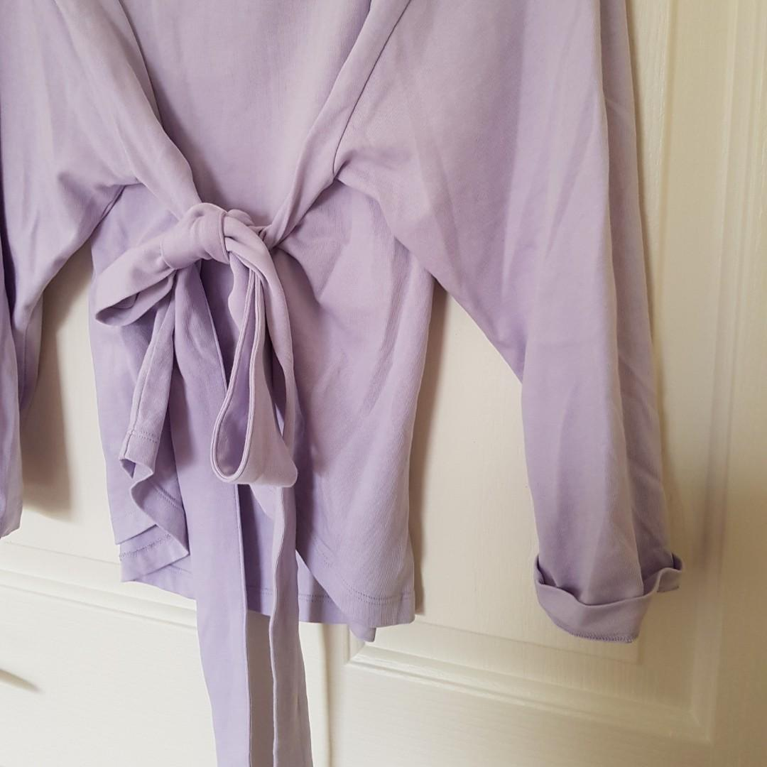 Country Road Lilac Purple Sleeved Top with Tie Up Detail Size XXS/4 (fits up to size 8)