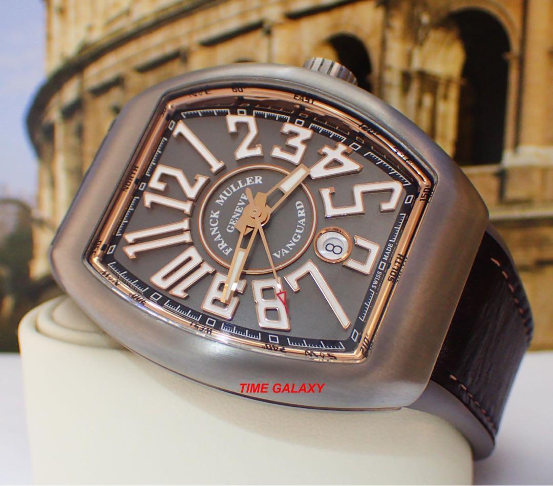 FRANCK MULLER Vanguard collection V45SCDTTTBR 44mm Titanium Gold Line Automatic Men's watch.