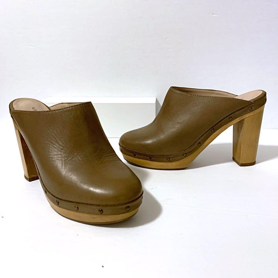 Gerard Darel Women Taupe Leather Wooden Heel Bohemian Chic Clog Size 39