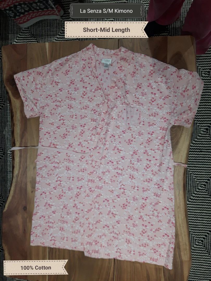 La Senza pink kimono robe S/M (short to med) floral