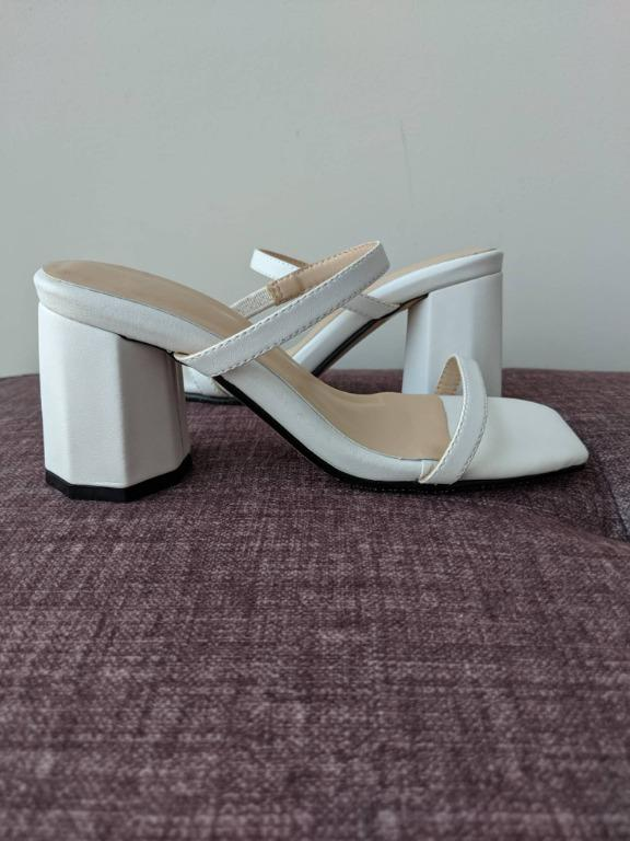Mid-Heel White Sandals for Petite Feet (Size 1; EU33; 215mm)