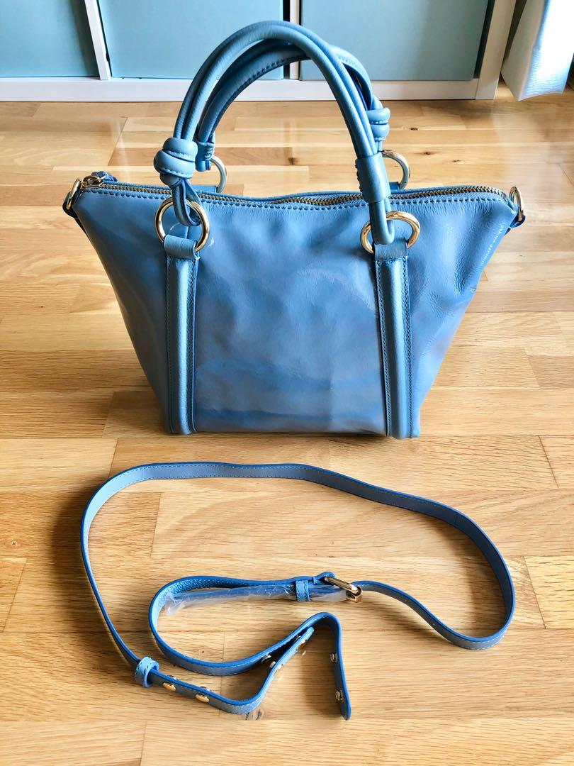 Mimco baby blue leather tote bag fantastic condition