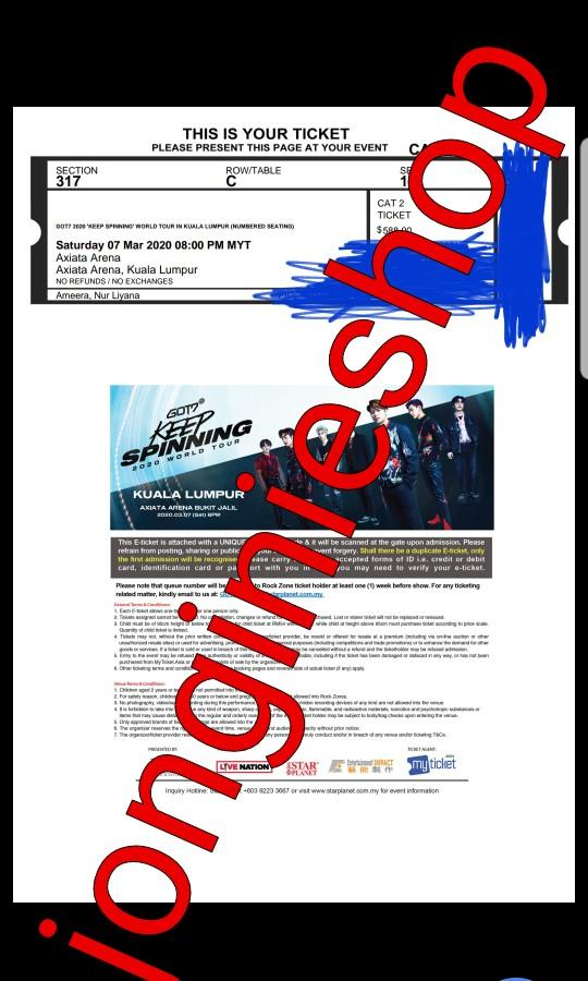 [PROOF] GOT7 KEEP SPINNING IN KL TICKETING SERVICE