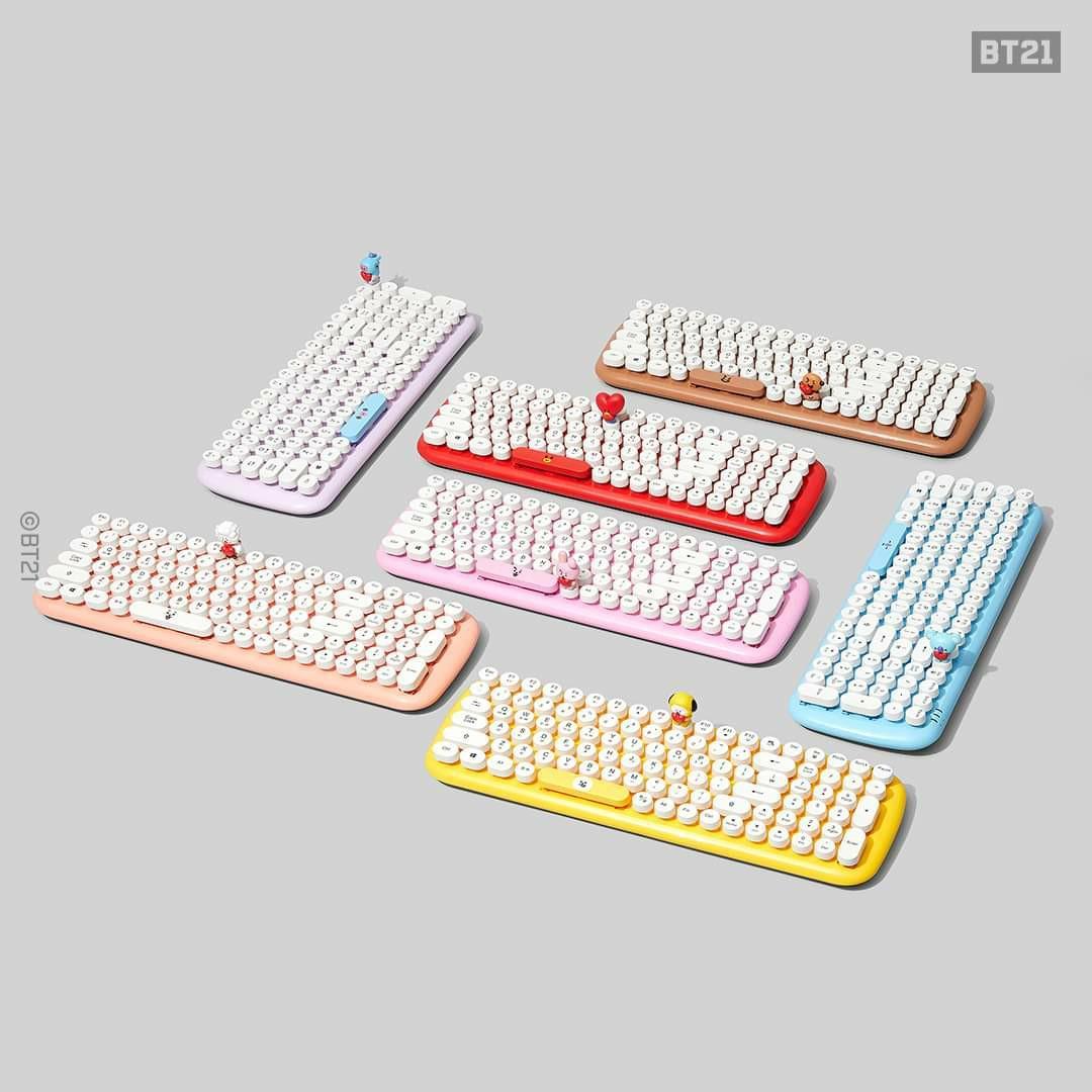 (READY STOCK) BTS BT21 x Royche Wireless Retro Keyboard