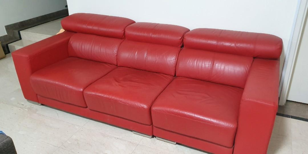 Red Leather Sofa Used Furniture, Red Leather Furniture