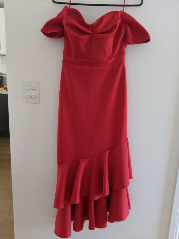 Red Off-the-Shoulder Miss Selfridge Midi Dress UK6