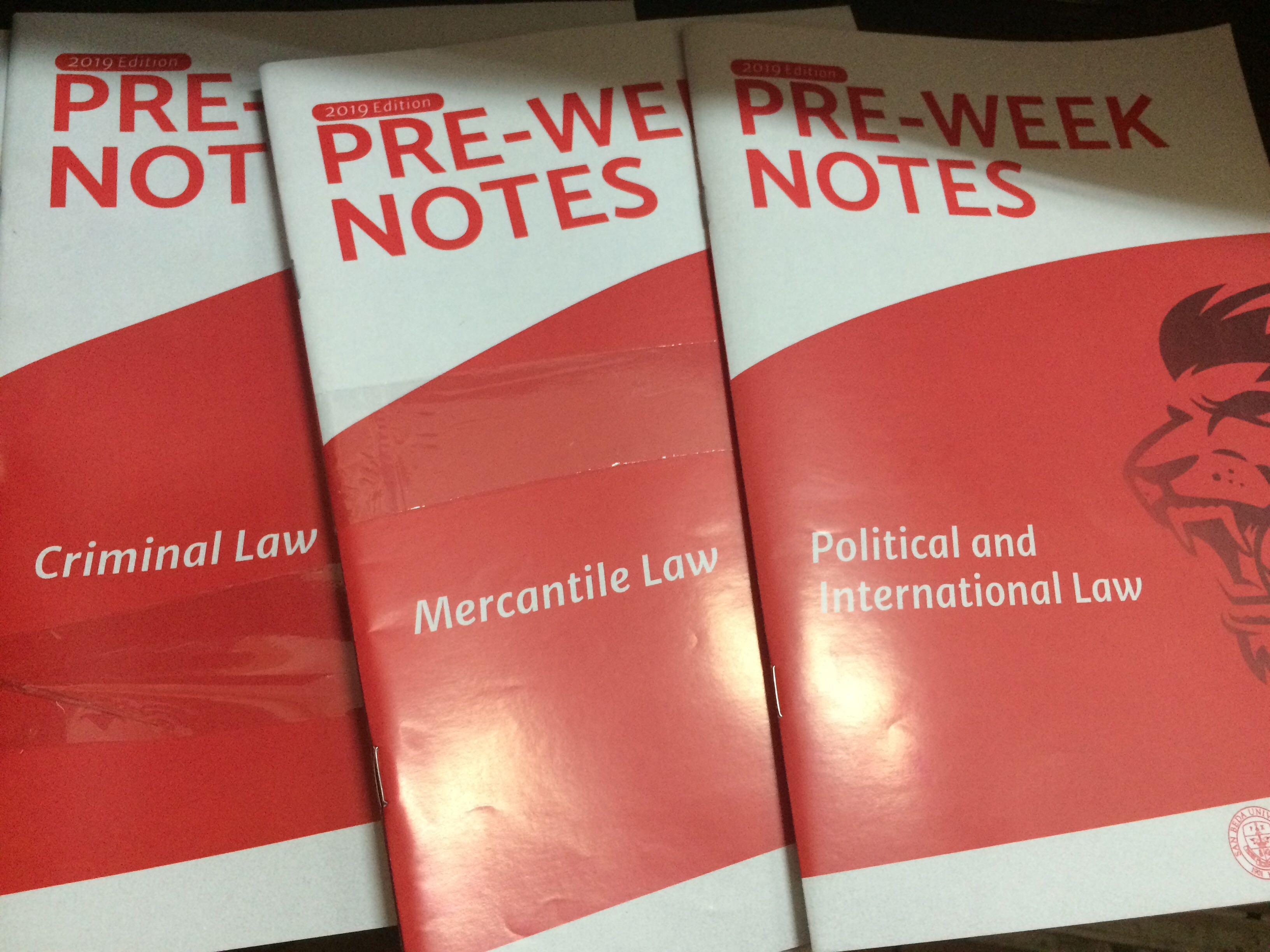San Beda Preweek Notes: Political Law, Labor Law, Mercantile Law, Criminal Law, Remedial Law, Legal Ethics