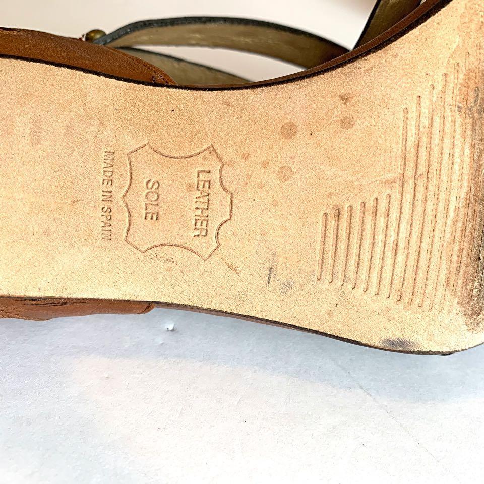 Stuart Weitzman Brown Leather Stud Strappy Open Toes Stiletto Heel Sandals sz 8