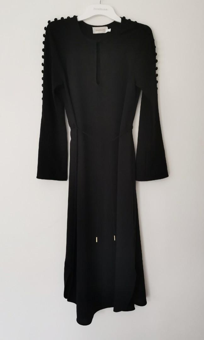 Zimmermann Button Midi Dress in  Black - Size 0 RRP $495