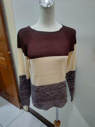 全新 中性 針織 長袖上衣 棕色 漸層 咖啡色 針織衫 針織毛衣 女生 男生