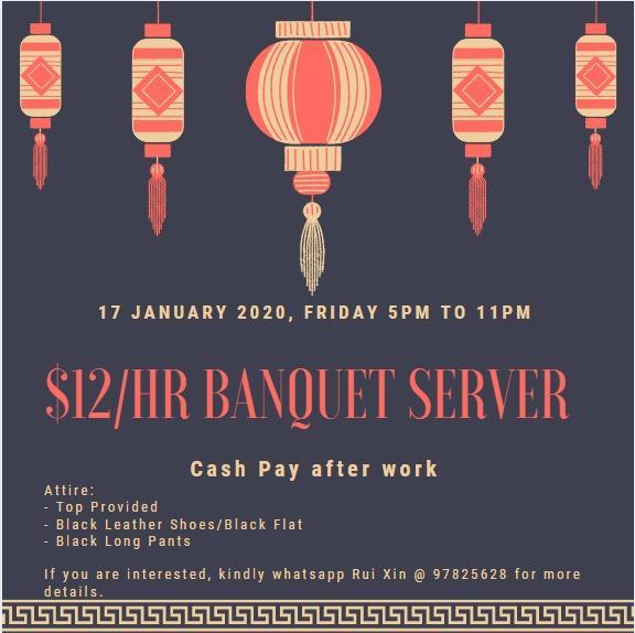 $12/hr Cash Pay 17 January 2020
