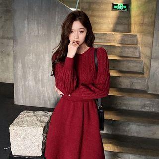 [長袖洋裝] 韓版洋裝   正韓學生修身圓領麻花針織洋裝   針織乖乖裙