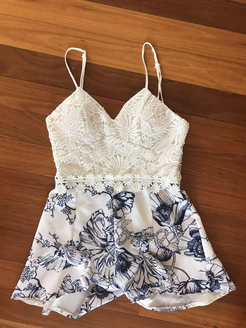 Angel Biba White Floral Playsuit with Lace Detailing