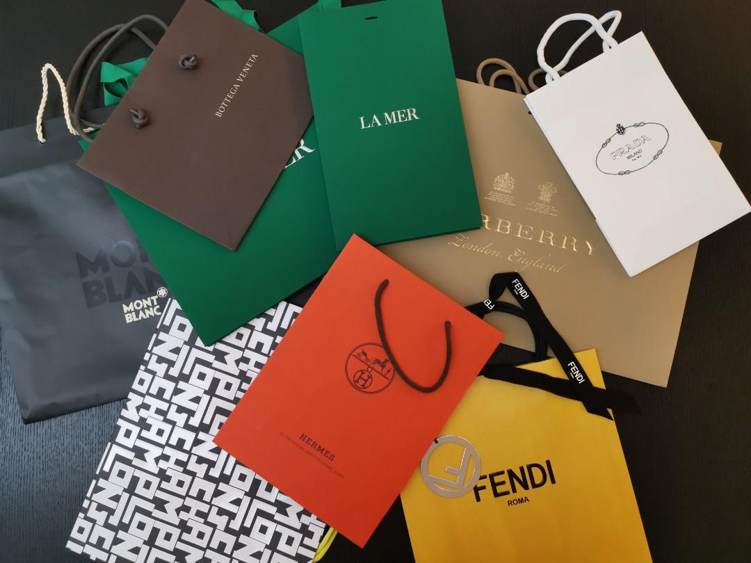 Branded paper bags / hermes paper bag/ fendi paper bag / long champ paper bag/ prada paper bag / burberry paper bag