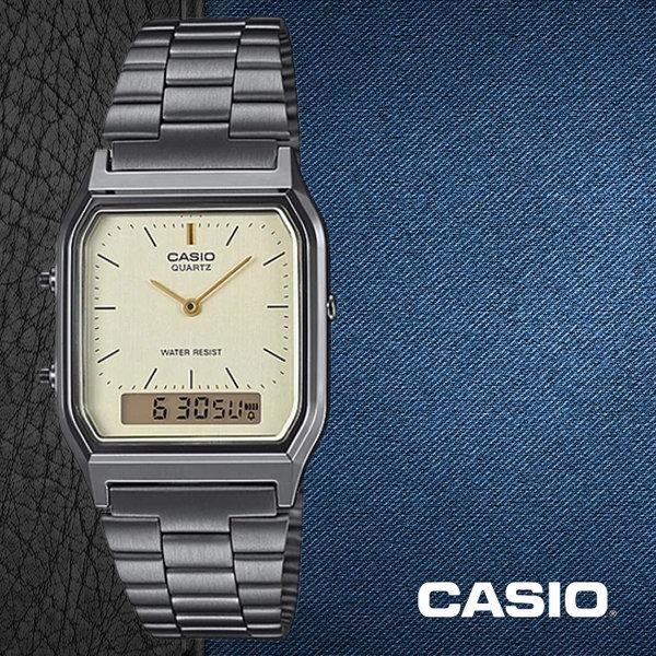 Casio AQ-230GG-9A Men Analog Digital Dual Time Yellow Dial Stainless Steel Strap Original Casual Watch AQ-230GG