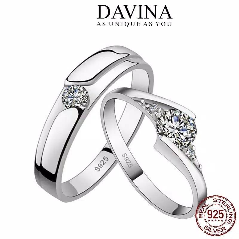 Cincin Couple DAVINA Perak 925 Sterling Silver S925 Asli Tunangan Nikah Kawin Wedding Ring Pr