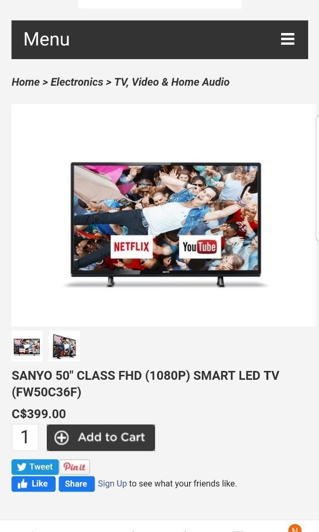 "NEW YEARS SALE NEW OPEN BOX SANYO 50"" SMART N0 BOX $240"