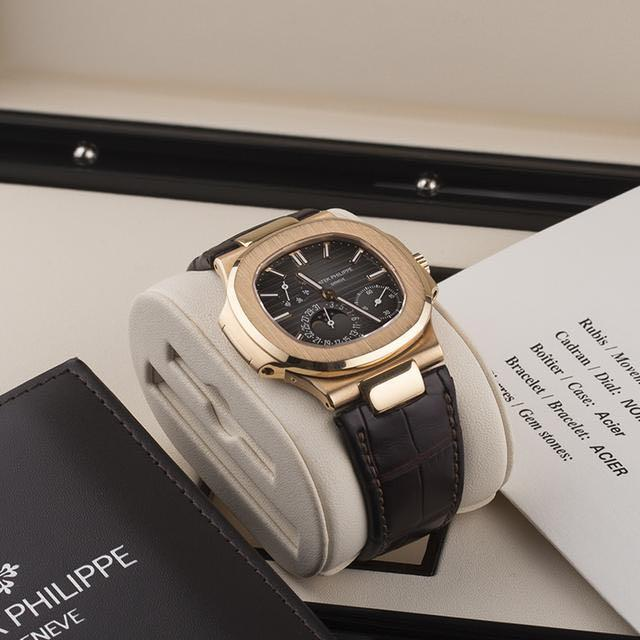 Patek Philippe 5712R Nautilus  Rosegold Automatic Moonphase Leather watch