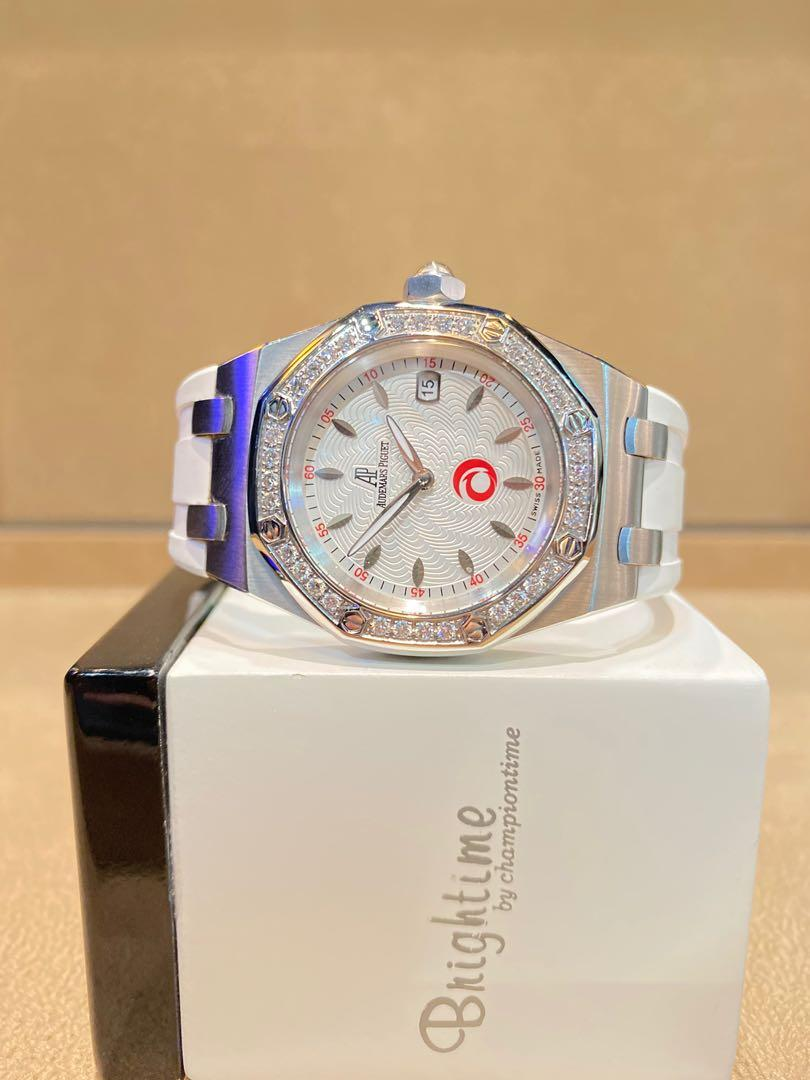 "Pre Owned Audemars Piguet Royal Oak Ladies ""Alinghi"" 67611ST Silver Dial Quartz Steel Casing Rubber"