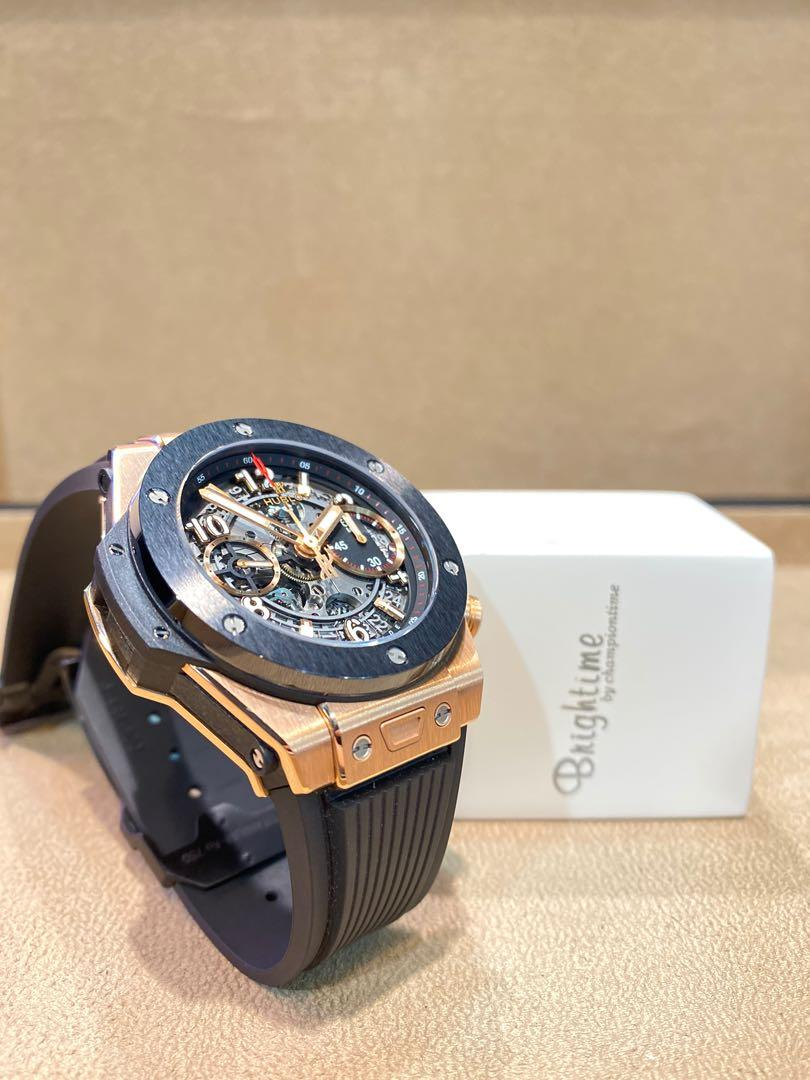 Pre Owned Hublot Big Bang Unico 441.OM.1180.RX Skeleton Dial Automatic Rose Gold Casing Rubber
