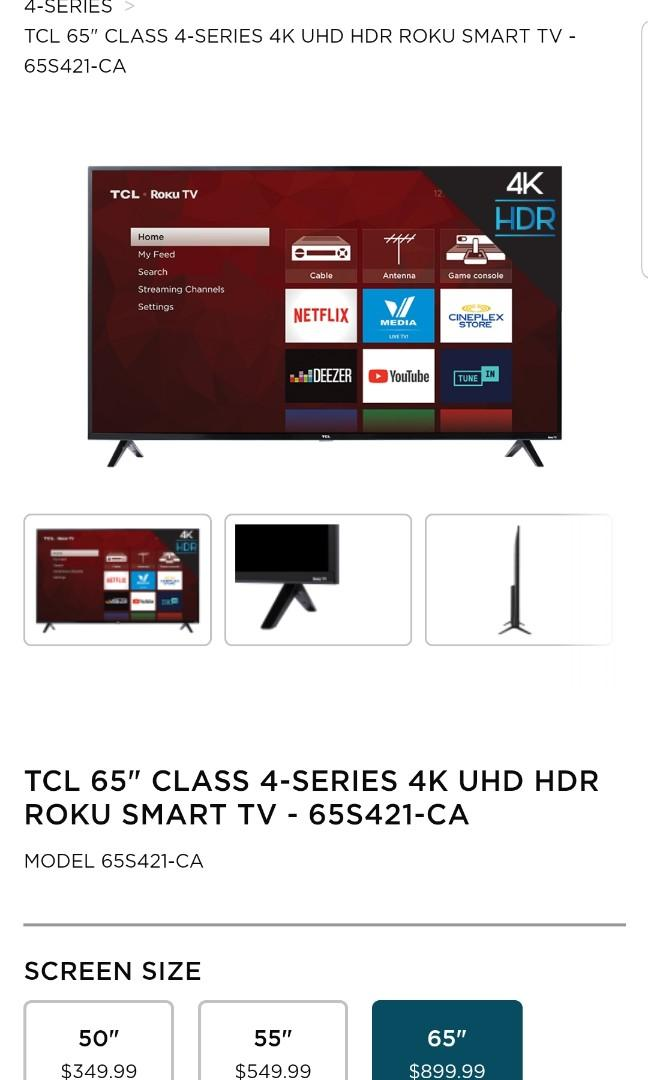 "TCL TV SALE SIZES 55"" & 65"" 4K SMART STARTS ONLY $350 & $550!"