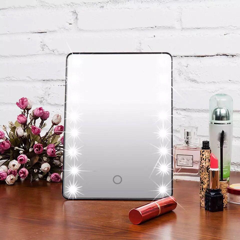 White LED Makeup Cosmetic Vanity Table Mirror Touch Screen Portable