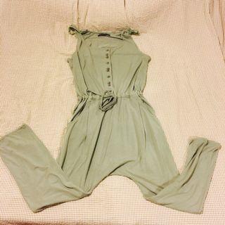 Enigma設計師棉質灰綠色 腰部抽繩 飛鼠連身褲