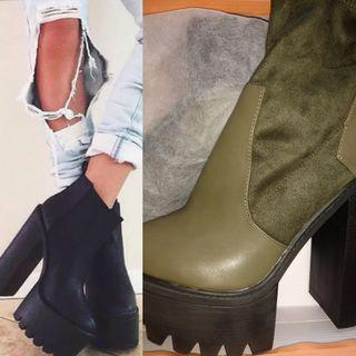 (Final Price)Olive platform combat boots