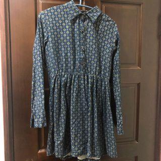 深藍圖騰洋裝(只穿過一次)