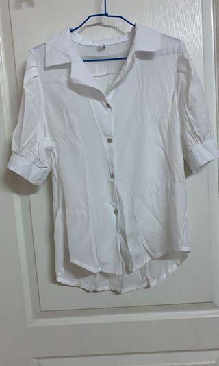 復古白短襯衫