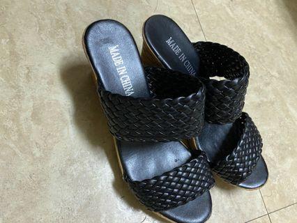 格紋編織個性後跟鞋