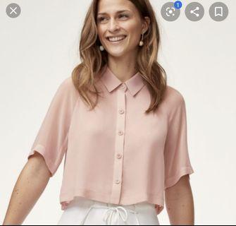 Aritzia Wilfred Henrietta silk pink blouse xs