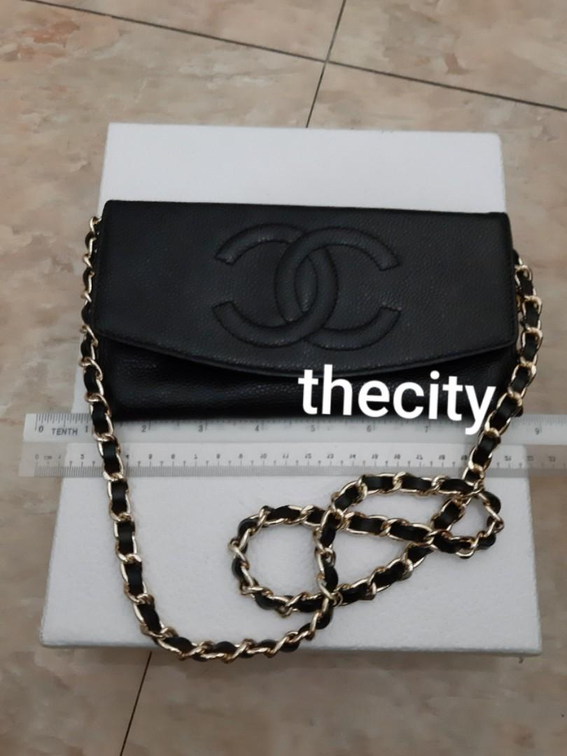AUTHENTIC CHANEL BLACK CAVIAR LEATHER- LONG ORGANIZER POUCH / WALLET- BIG CC LOGO DESIGN - LEATHER IN GOOD CONDITION, CLEAN INTERIOR- HOLOGRAM STICKER INTACT - GOLD HARDWARE - CLASSIC TIMELESS VINTAGE - COMES WITH EXTRA ADD HOOKS & LONG CHAIN