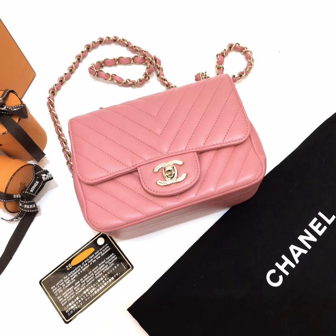 Authentic Chanel Pink Chevron Lambskin Square Mini Light Gold Hardware