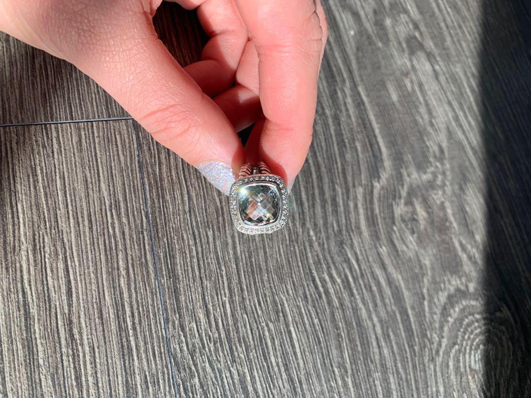 AUTHENTIC David Yurman Albion Ring with Prasiolite and Diamonds 11mm