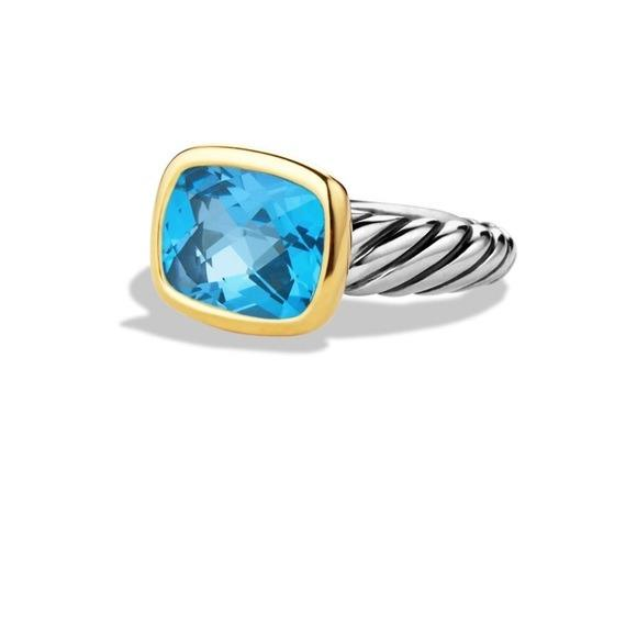 AUTHENTIC David Yurman Noblesse Blue Topaz Ring 14K Gold and Silver Size 6.5