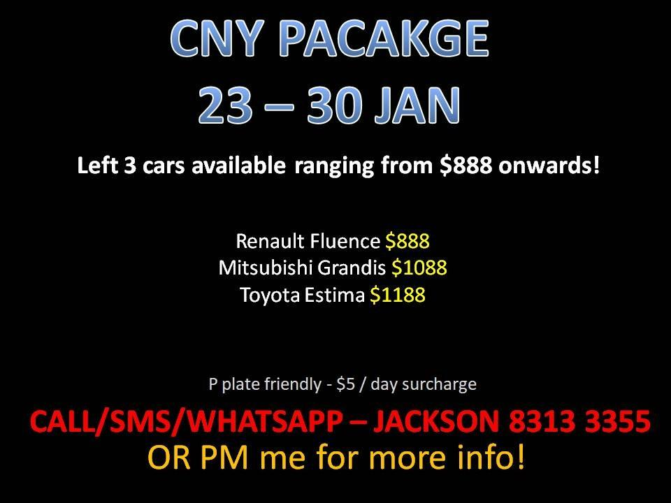 CAR RENTAL NO DEPOSIT CHINESE NEW YEAR PACKAGE *P PLATE FRIENDLY* (Sembawang)